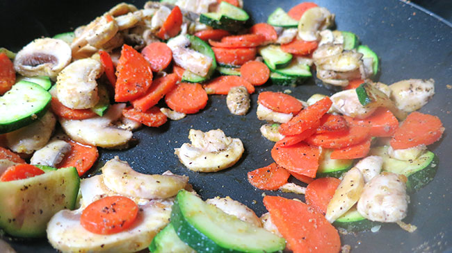 sauteed veggies for clean and healthy bolognese