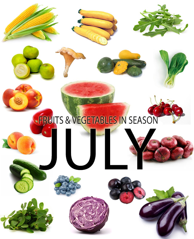 fruits and vegetables in season in  July